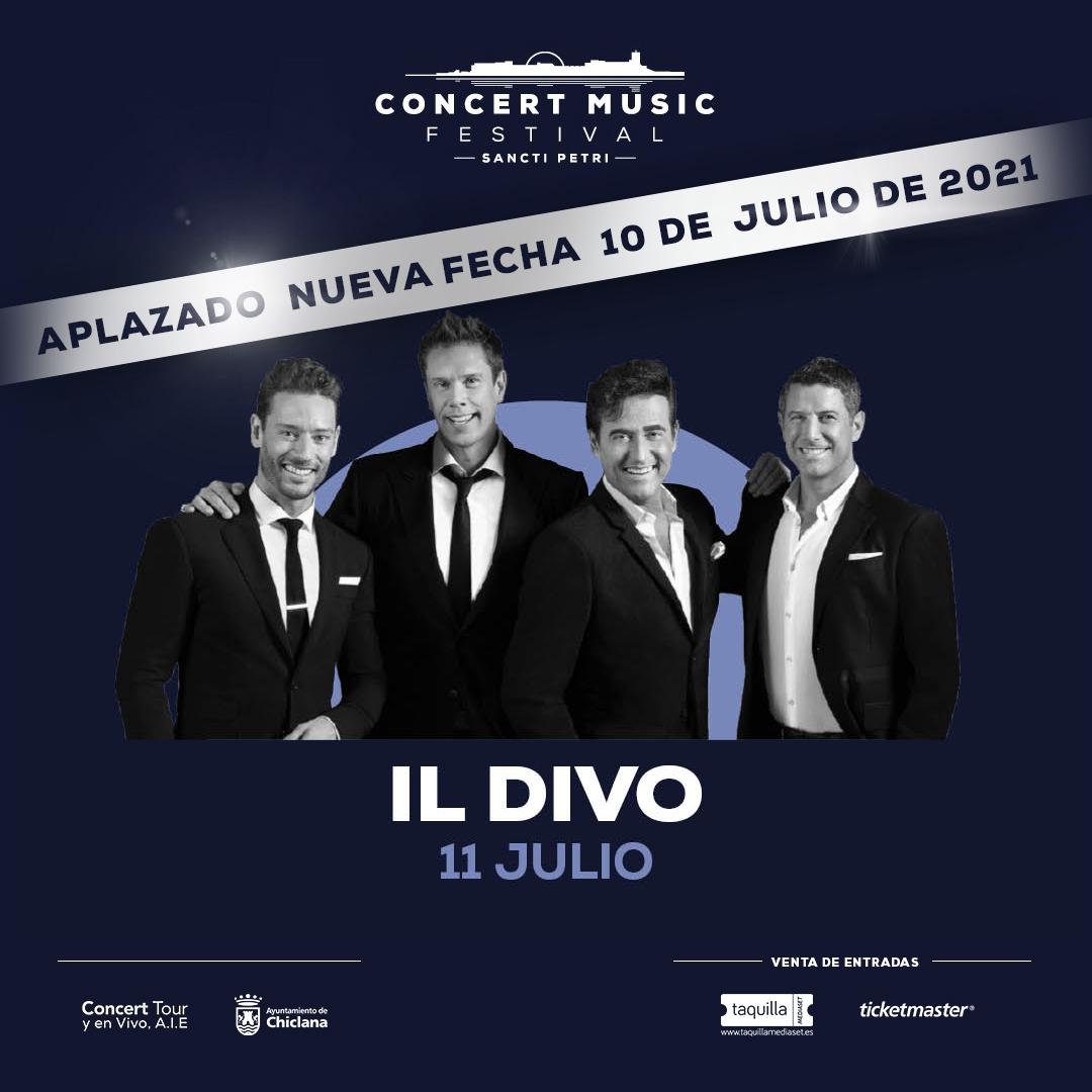Aplazado el concierto de Il Divo en Concert Music Festival al 10 de julio de 2021
