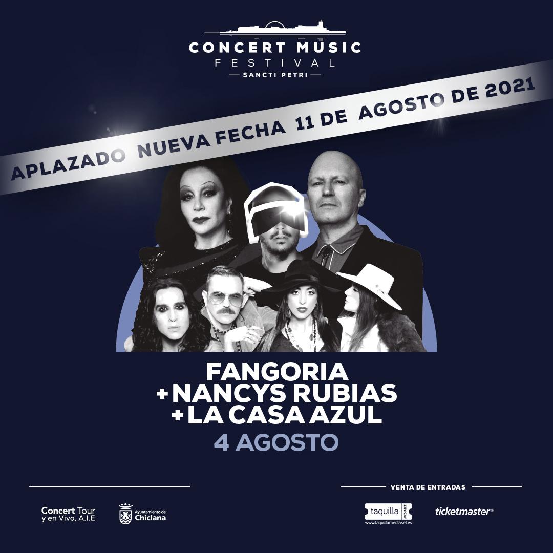 Se posponen para el próximo año los conciertos que Fangoria, Nancys Rubias y La Casa Azul en Concert Music Festival. Nueva fecha 11 de agosto de 2021.