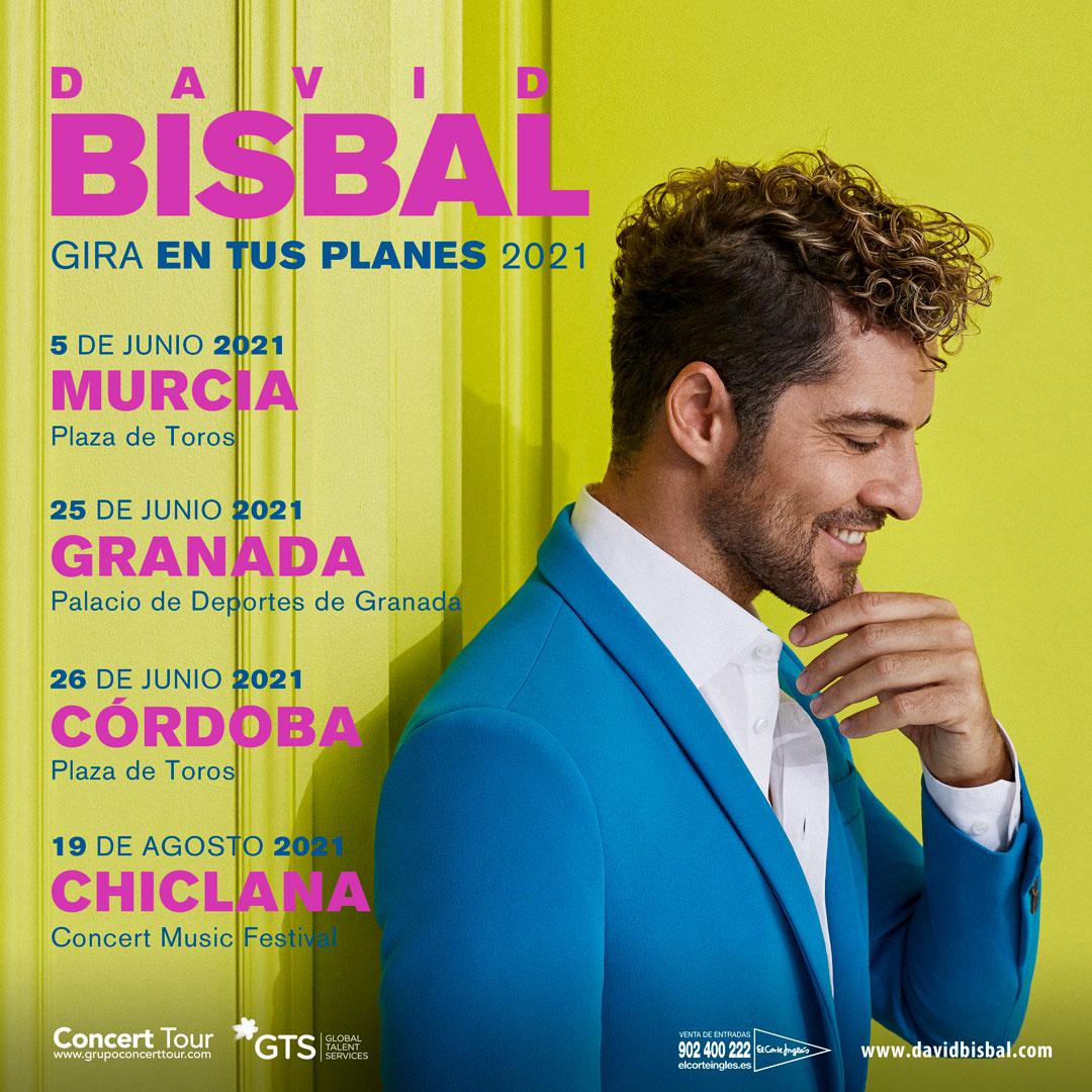 David Bisbal aplaza su Tour En Tus Planes a 2021 y reprograma los conciertos que tenía previstos en Granada, Córdoba, Murcia y Concert Music Festival