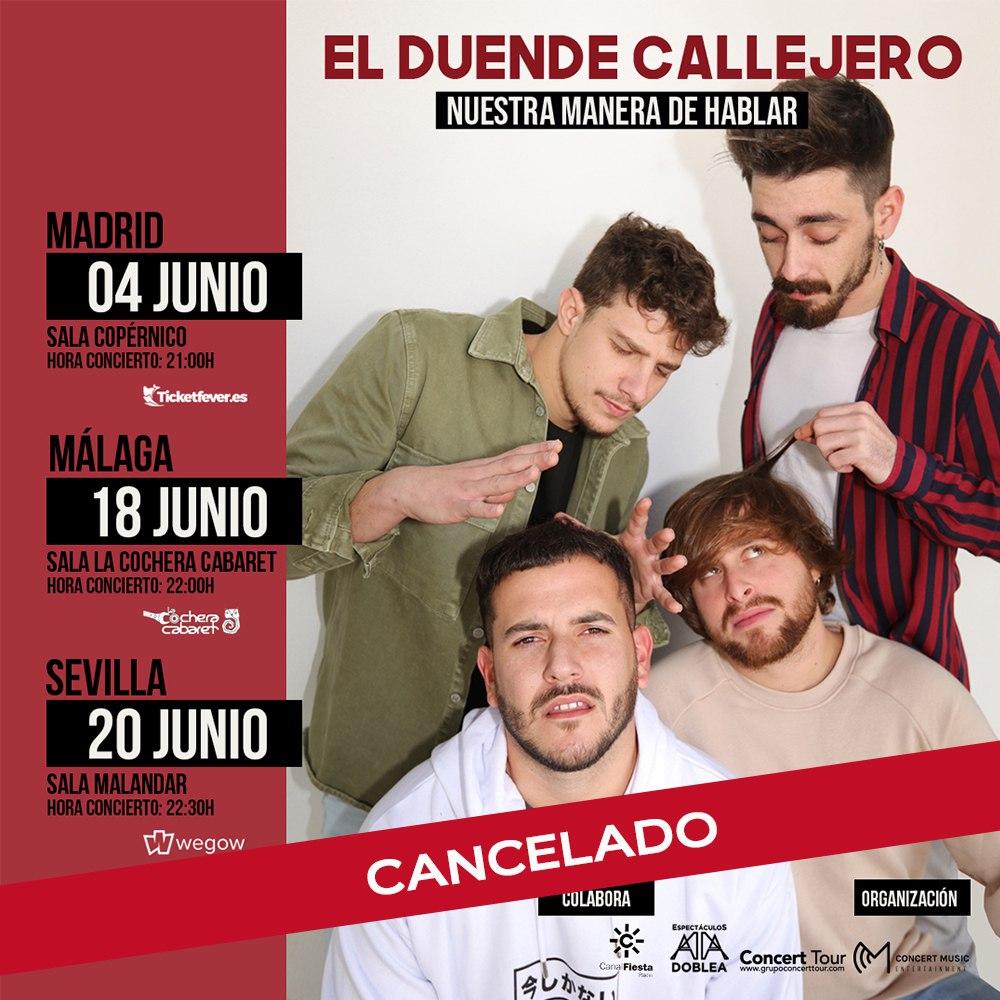 Cancelados los conciertos de presentación de la gira de El Duende Callejero por la crisis sanitaria ocasionada por el Covid-19