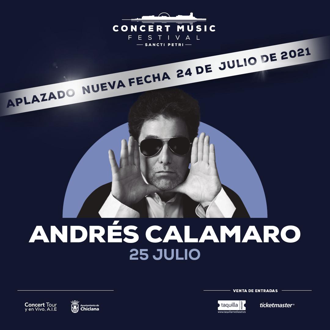 El concierto que Andrés Calamaro tenía previsto este verano en Concert Music Festival se pospone para el 24 de julio de 2021.