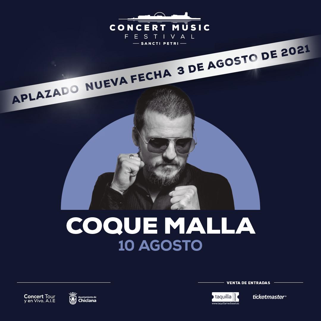 El concierto que Coque Malla tenía previsto para este verano en Concert Music Festival dentro de su ¿Revolución Tour?, se aplaza al 3 de agosto de 2021.