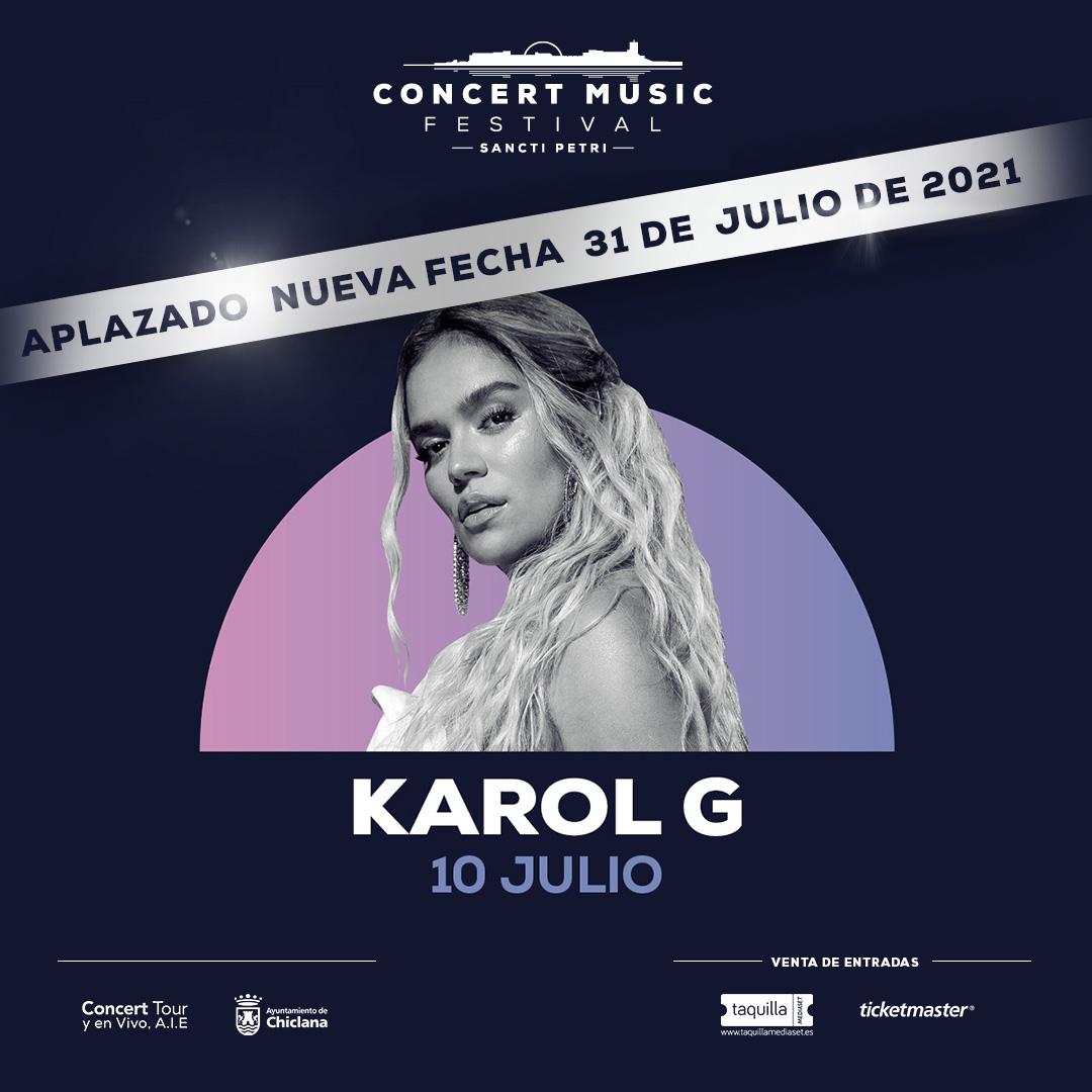 La gira de Karol G en España se pospone para el próximo año. La nueva fecha elegida para visitar Concert Music Festival es el 31 de julio de 2021.