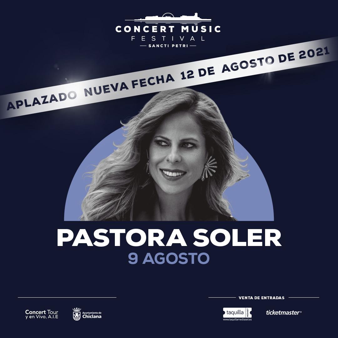 El concierto que Pastora Soler tenía previsto para este verano en Concert Music Festival dentro de su gira Sentir, se aplaza al 12 de agosto de 2021.