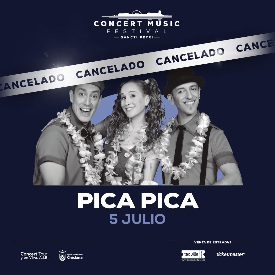 Cancelado el espectáculo de Pica Pica previsto para el 5 de julio de 2020 en Concert Music Festival. El importe de las entradas se reembolsará íntegramente