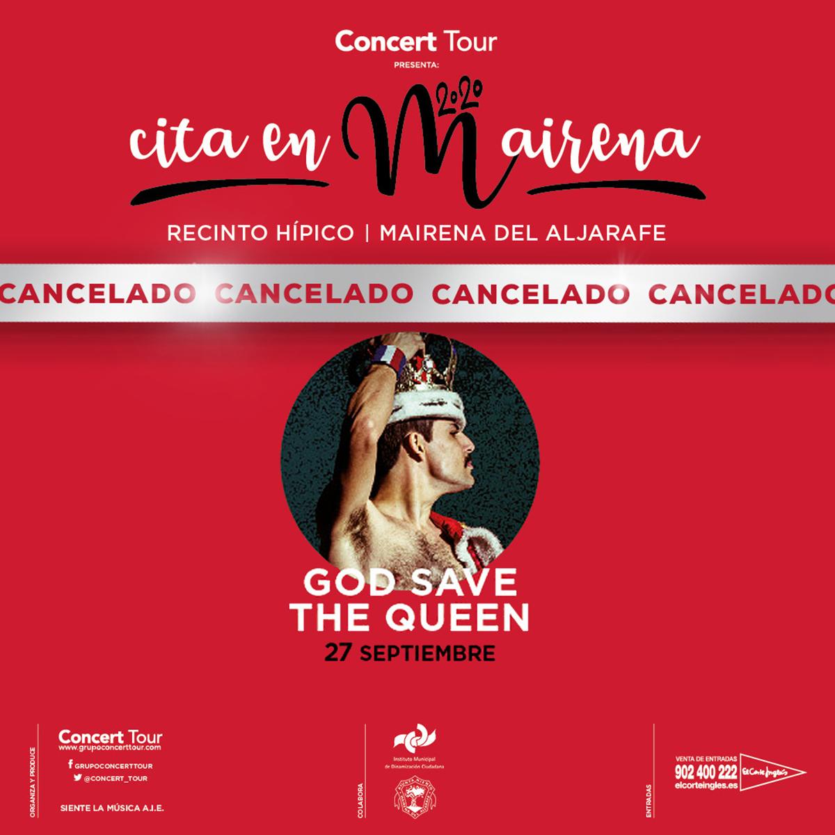 Cancelado el concierto de God Save The Queen previsto para el 27 de septiembre de 2020 en Cita en Mairena. Se procederá al reembolso de todas las entradas.