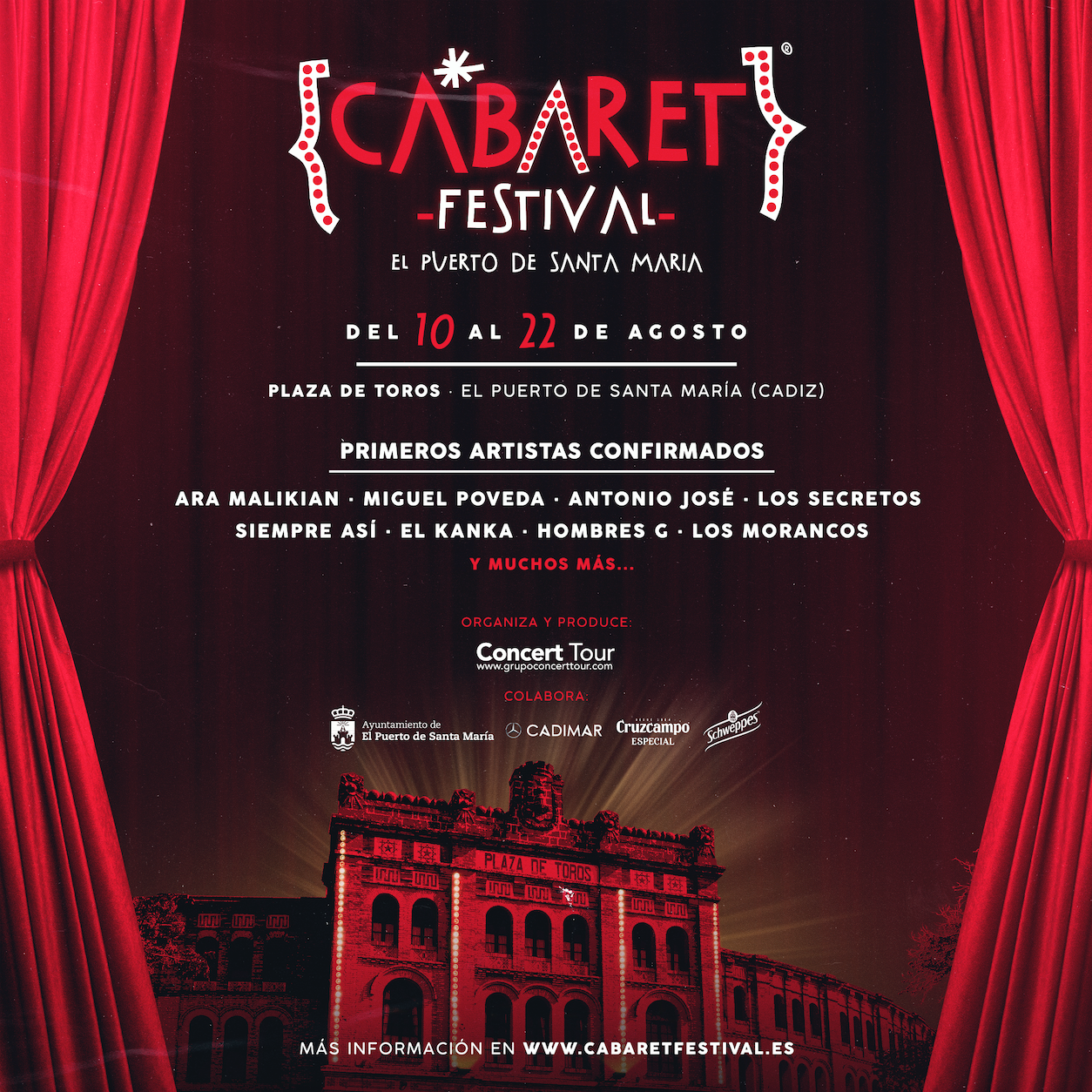El ciclo de música y humor Cabaret Festival anuncia su primera parada en El Puerto de Santa María este verano y los primeros artistas confirmados