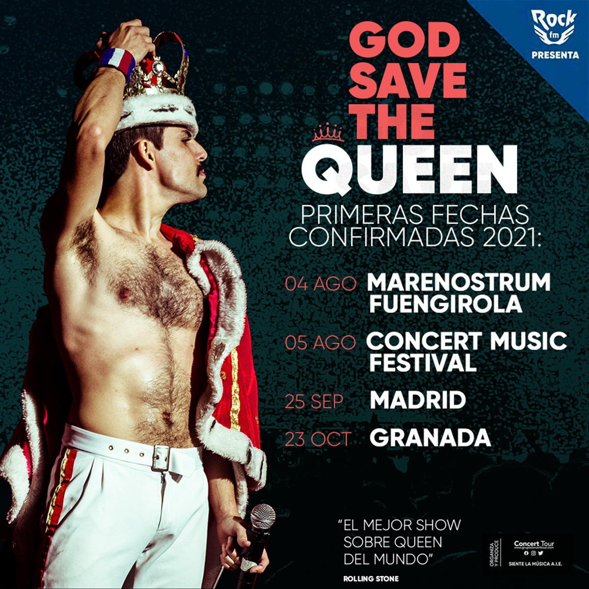 Los conciertos de la gira Champions of the World de God Save The Queen en Chiclana, Fuengirola, Granada y Madrid se posponen para el próximo año.