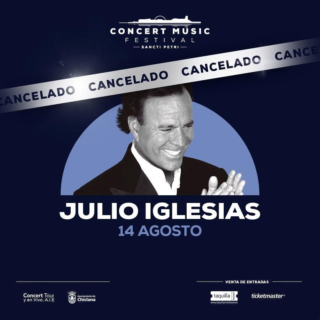 Lamentamos comunicar la cancelación del concierto de Julio Iglesias previsto para el 14 de agosto en Concert Music Festival.