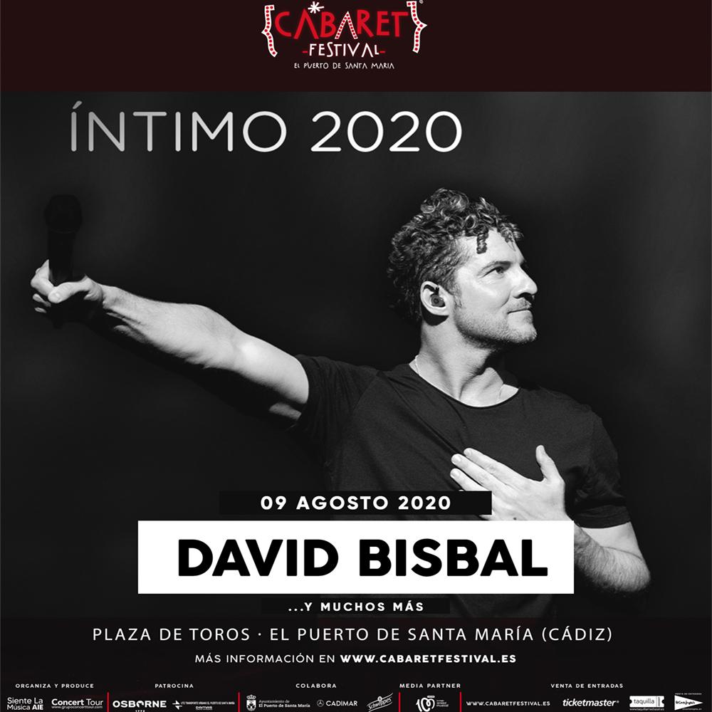 David Bisbal es el nuevo artista confirmado de la I Edición de Cabaret Festival en El Puerto De Santa María (Cádiz), con un espectacular concierto dentro de su gira Íntimo 2020 que tendrá lugar el próximo 09 de agosto y en el que el artista se aleja de las grande súper producciones para ofrecer un concierto más cercano y personal.