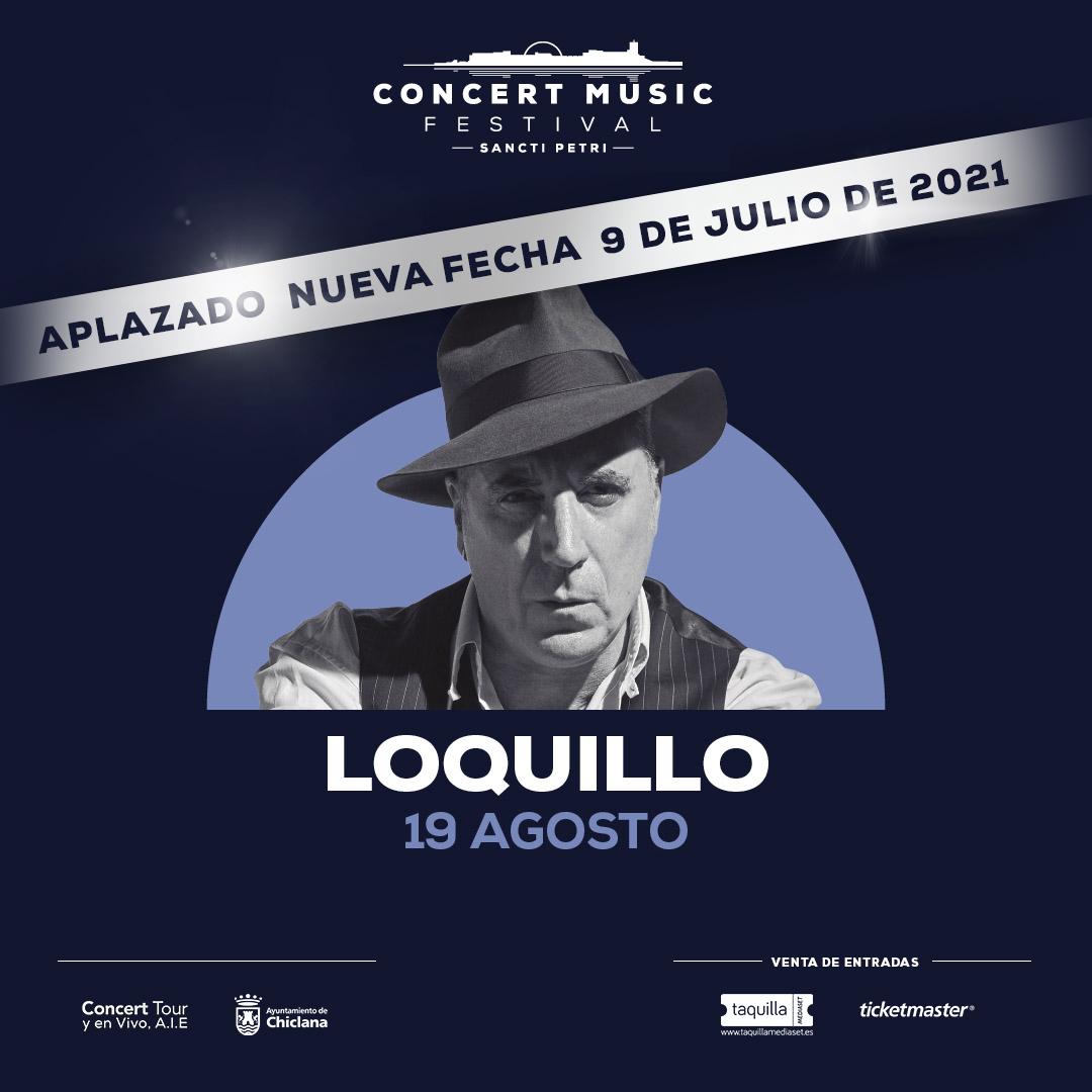 El concierto que Loquillo tenía previsto para este verano en Concert Music Festival dentro de su gira El último clásico, se aplaza al 9 de julio de 2021.
