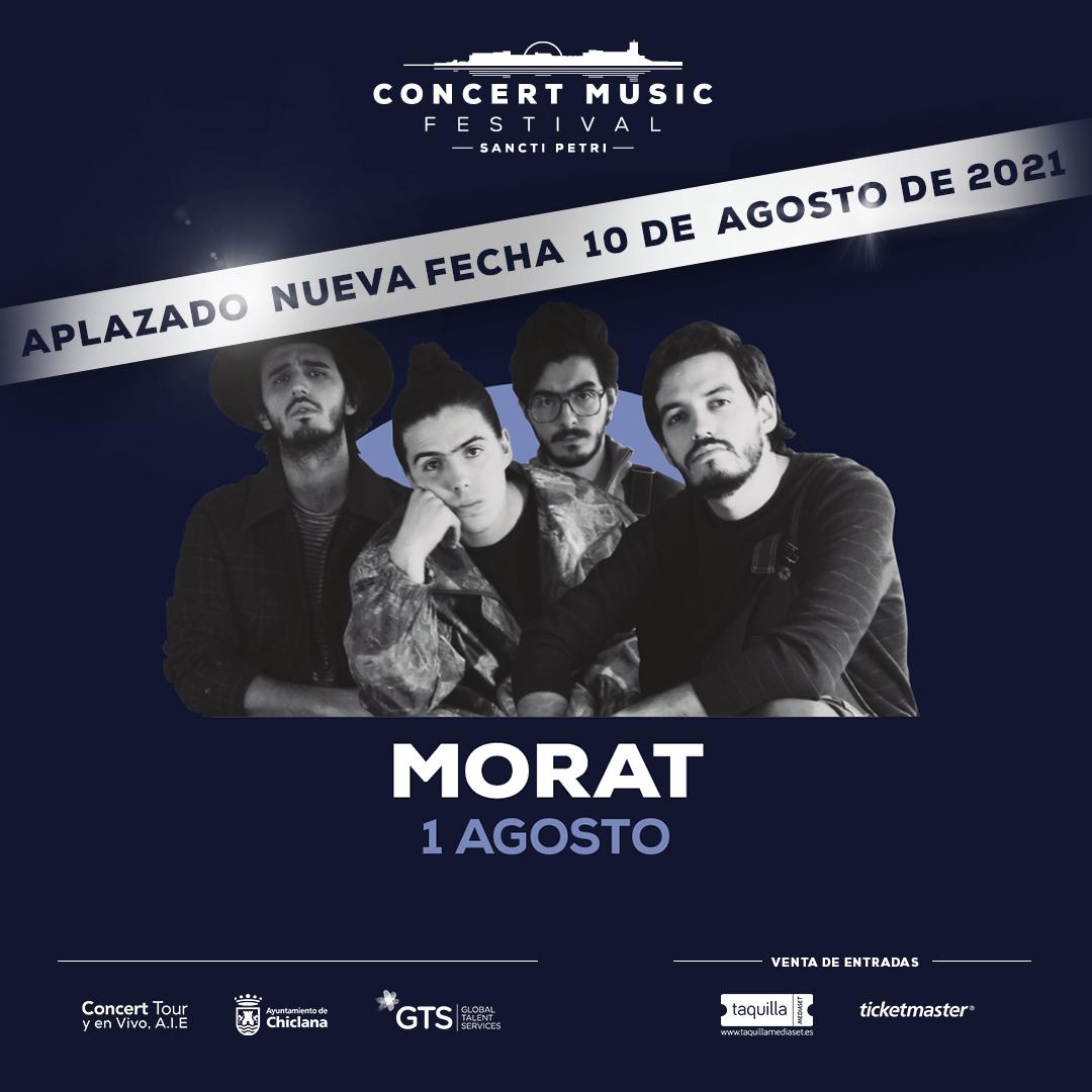 Se pospone para el próximo año el concierto que Morat tenía previsto celebrar este verano en Concert Music Festival. Nueva fecha: 10 de agosto de 2021
