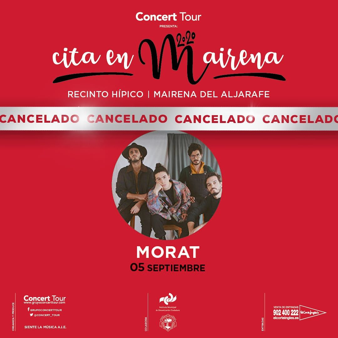 Cancelado el concierto de Morat en Cita En Mairena previsto para el 5 de septiembre de 2020